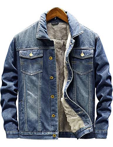 Omoone Men's Loose Button Down Fleece Lined Flannel Thick Denim Trucker Jacket (Dark Blue, XS)