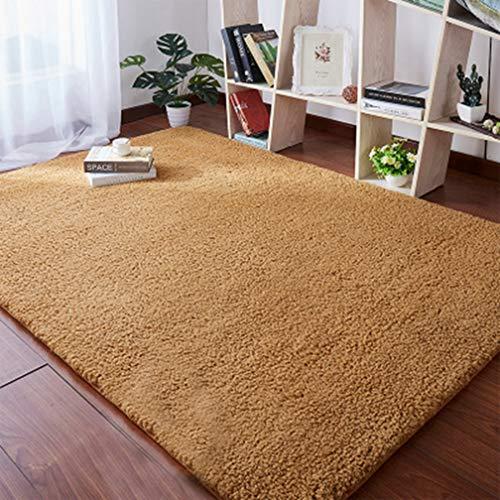 Solid Rectangular Area Rugs Soft Shag Living Room Children Bedroom Rug Anti-Slip Plush Carpets Home Decor Modern Indoor Outdoor Runners Nursery Brown 5' X 10'