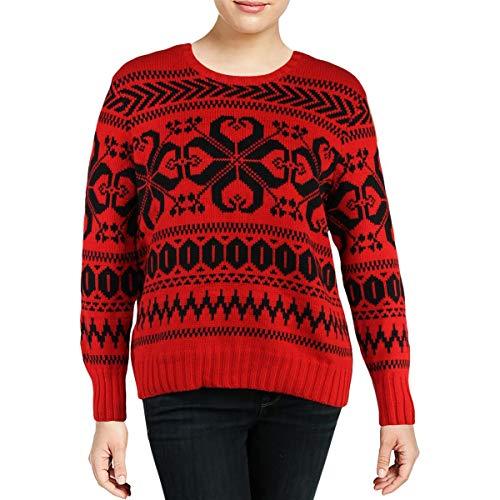(LAUREN RALPH LAUREN Womens Wool Fair Isle Pullover Sweater Red M)