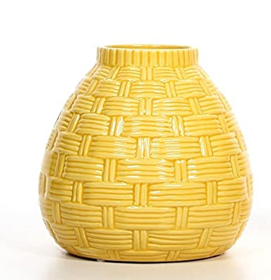 "Hosley's 6.5"" High Yellow Ceramic table top or floor Vase. Ideal as a Gift"