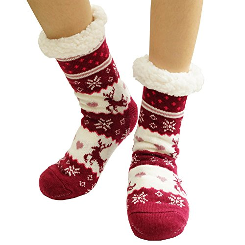 Womens Winter Warm Fleece Lined Cozy Thick Non Skid Home Slipper Socks burgundy (Plus Lined Stockings Size)