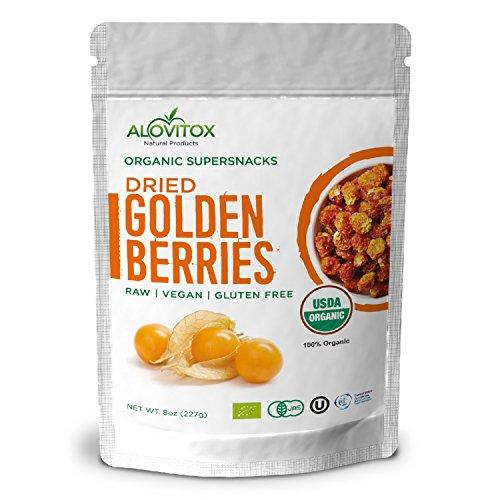 Golden Berries (Golden Berries - All Natural Fresh Incan, Gooseberries Raw, Vegan, Gluten Free, Paleo Dried Super Fruit, Smart Protein Fiber Organic 8oz by Alovitox)