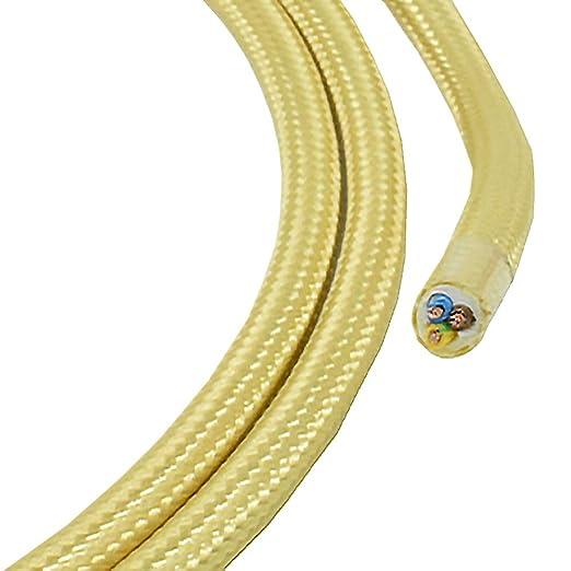 Cable de tela (1,20 m), color dorado claro y champán, 3 hilos, 0 ...