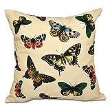E by design 26 x 26-inch, Butterflies, Animal Print Pillow, Yellow