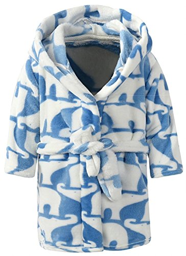Drawstring Silk Robe (Ameyda Toddlers/Kids/Baby Soft Fleece Robe Bathrobe With All Over Print Elephant Color,130)