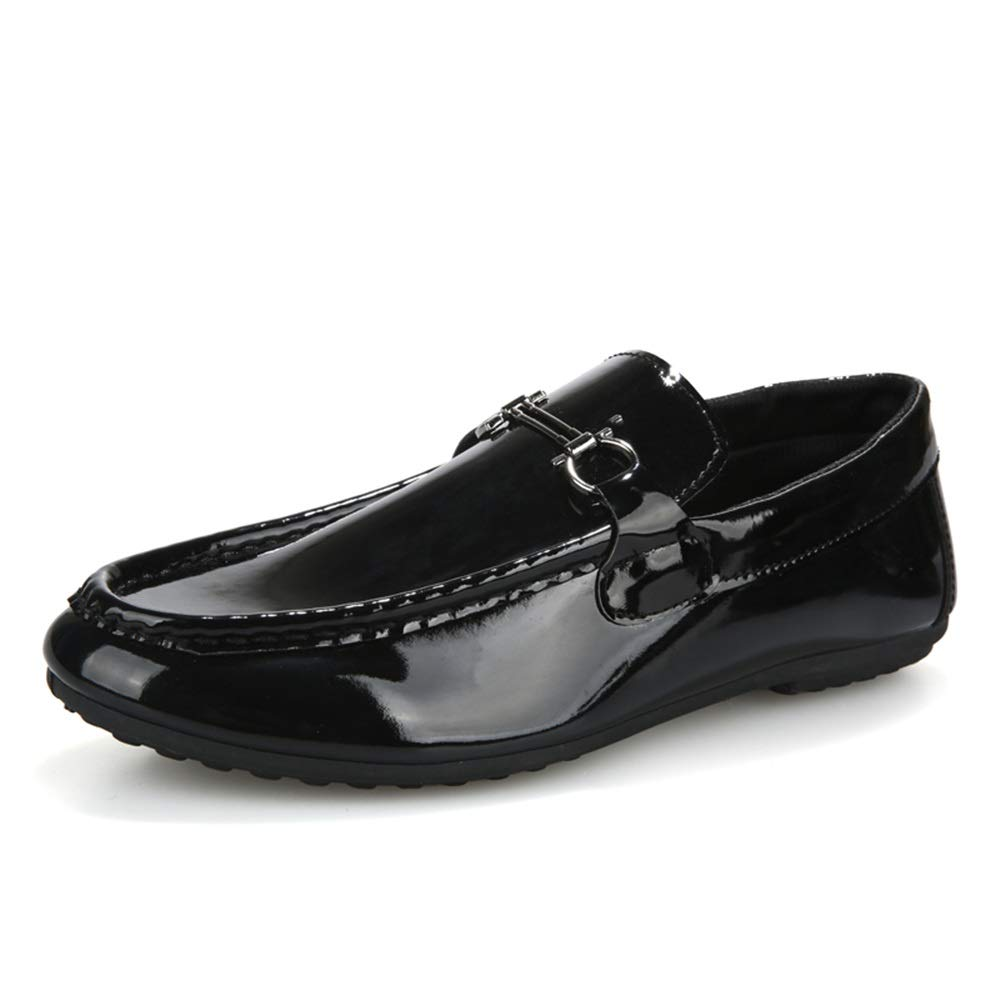 Gobling Summer Loafer for Men, Lightweight Non-Slip Flat Moccasins Personality Pattern Patent Leather Casual Driving Boat Shoes (Color : Print Black, Size : 9.5 M US)