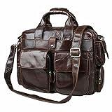 Jsix Men's Real Leather Messenger Handbag Shoulder Bag Briefcases Laptop Bag Travel Bag Brown