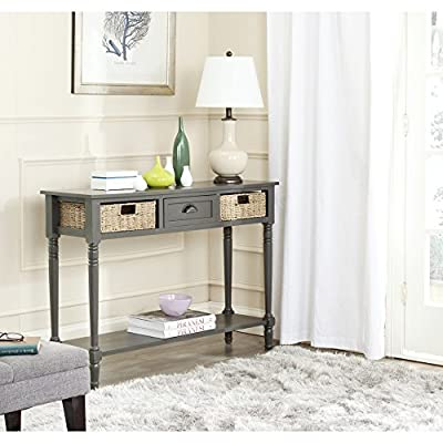 Safavieh American Homes Collection Winifred Grey Wicker Console Table with Storage - Perfect for a hallway, den, living room, bedroom or anywhere in your home that you want to add a fresh accent For over 100 years, Safavieh has been crafting products of the highest quality and unmatched style Crafted of pine wood - living-room-furniture, living-room, console-tables - 51FgKD5SicL. SS400  -