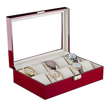 Caja de Almacenamiento de Reloj de Madera para Mujer con Cerradura y Llave/ Cajas Grandes para Relojes y Joyas/Caja de Reloj con Tapa de Cristal 10 Ranuras ...