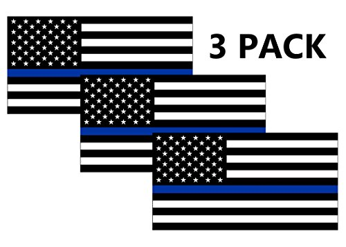 Cops Sticker - Thin Blue Line Blue Lives Matter Flag Sticker Vinyl Decal for Car Truck Window Bumper Sticker Support of Police and Law Enforcement Officers ((3 Pack) 3x5)
