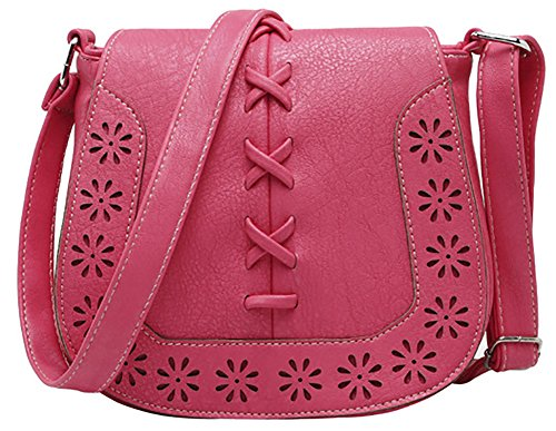 Hobo Women's Purse Shoulder Sanddle Lacing Red Travel Crossbody PU Bag with Hollow ttSwqxF4