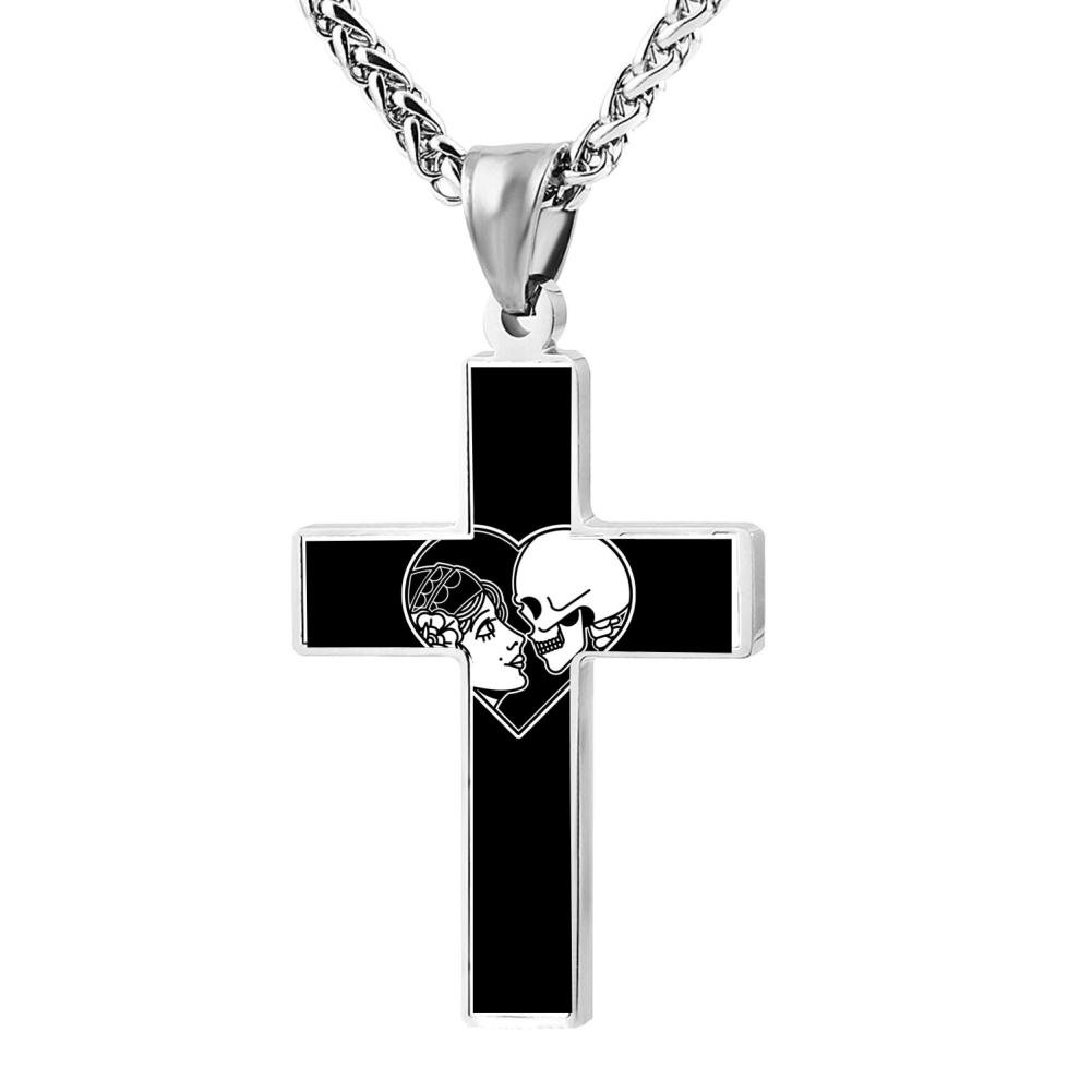 Wine Jianxian Eternity Death Cross Pendant Jewelry Zinc Alloy Prayer Necklace For Men Women With Necklace,24 Inch