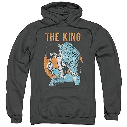 Elvis Presley - Mic in Hand - Adult Hoodie Sweatshirt - 2XL Gray