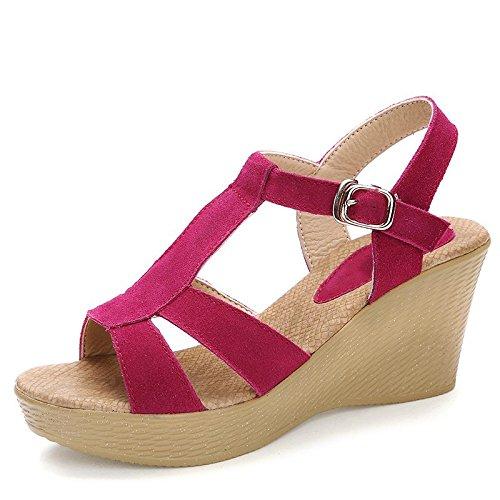 Xing Lin Ladies Sandals Wedge Sandals Women Summer Leather Casual Women Sandals Sandals Platform Shoes High Heel Open Toe Sandals Plum red sK36fGEr