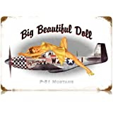 P-51 Pin Up Vintage Metal Sign - 18W x 12H in.