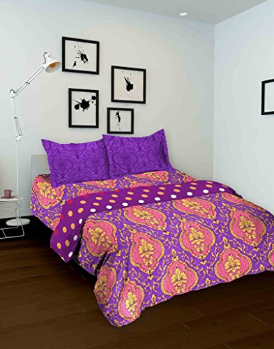 Tomatillo Ornamental Cotton Double Bedsheet with 2 Pillow Covers – Purple and Pink