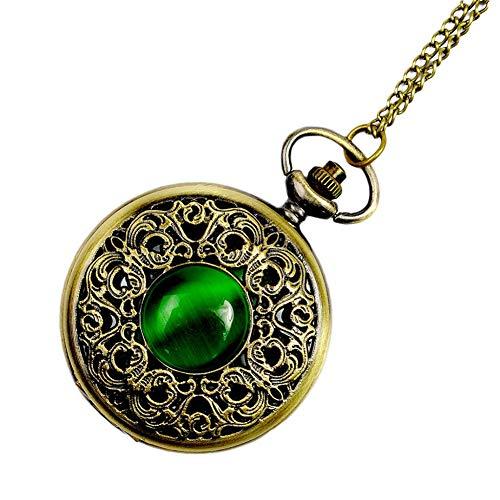 Emerald Mens Watch - ETbotu Vintage Emerald Stone Pocket Retro Watch Gothic Fashion Retro Green Opal Pocket Watch