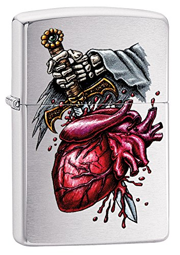 Zippo Goth Heart Sword Pocket Lighter, Brushed Chrome