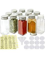 SimpleHouseware Square Spice Jars Bottles w/Labels (4oz), 12 Pack