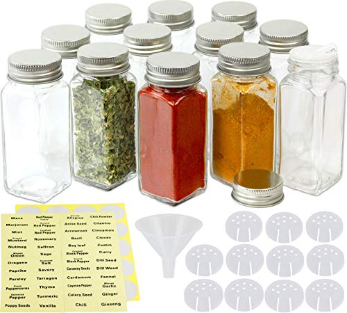Spice Glass Square - SimpleHouseware 12 Square Spice Bottles (4oz) w/label Set