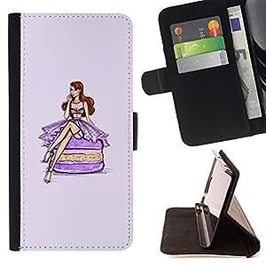 - Queen Pattern FOR Samsung Galaxy S6 /La identificaci????n del cr????dito ranuras para tarjetas tir????n de la caja Cartera de cuero cubie - fashion macaroon purple fuchsia dress