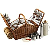 Cheap Picnic at Ascot Huntsman English-Style Willow Picnic Basket with Service for 4, Coffee Set and Blanket – London Plaid