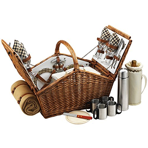 Picnic at Ascot Huntsman English-Style Willow Picnic Basket with Service for 4, Coffee Set and Blanket - London - English Baskets Willow