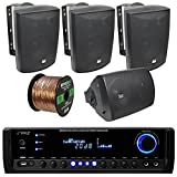 Pyle PT390BTU Bluetooth Digital Home Theater 300-Watt Stereo Receiver Bundle Combo With 4x Dual-Electronics LU53PB 125 Watt 3-way Black Indoor/Outdoor Speakers + Enrock 50ft 16g Speaker Wire