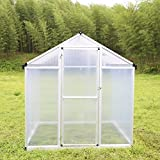 Walcut Natural Aluminum Walk in Greenhouse Flower House Garden House (6ft X 6ft X 6.4ft)