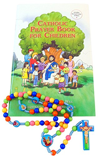 Baptism Set First Rosary and Catholic Prayer Book for Children with Gift - Gifts Catholic Baptism