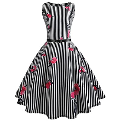 Kimloog Women Vintage Floral Striped Sleeveless Casual Party Prom Belted Swing Dress