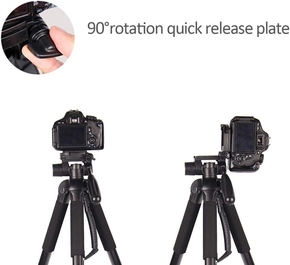 "Portable Tripod-CAMBOFOTO 55/"" Camera Tripod with Tripod Bag and 3 Way pan Head for SLR//DSLR Canon Nikon Sony Olympus etc"