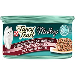 Purina Fancy Feast Medleys Shredded Wild Salmon Fare With Garden Greens In A Savory Broth Adult Wet Cat Food - (24) 3 Oz. Cans