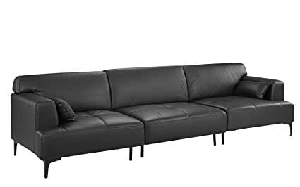 Amazon.com: Extra Large Living Room Leather Sofa/Couch (Dark Grey ...