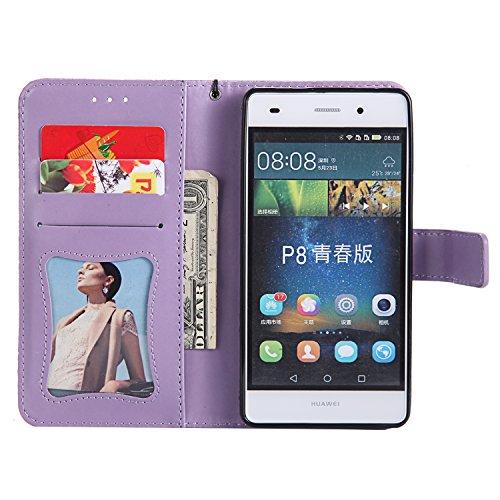 Coque 2016 Cuir 2016 Téléphone P8 Portefeuille Herbests P8 de Etui Huawei pour Housse Lite Coque P8 en Coque Huawei Protection Lite Cuir pour avec en Huawei Lite Fonction Housse Violet de 2016 Pochette Stand 5xYwOfq5R
