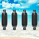 "Twin Eye Ribbed Boat Pontoon Fender 4.5"" x 16"" 4pcs Inflatable Vinyl Mooring Bumpers Guard Dock Docking - Black"