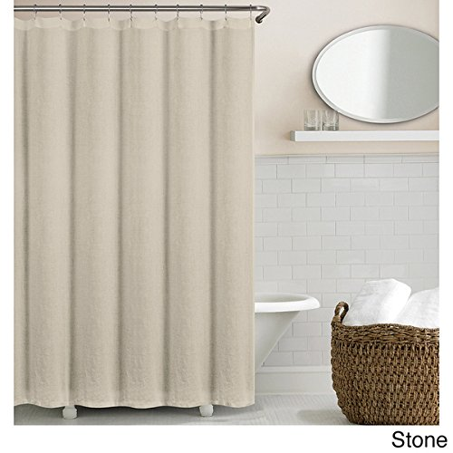 Echelon Home Washed Belgian Linen Shower Curtain Stone (Belgian Linen Curtains)