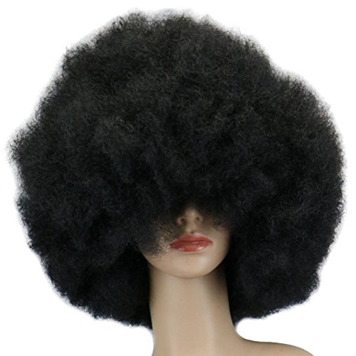 Tinksky Clown Wig Short Afro Wig Costume Wig (Black) Giant Afro Wig