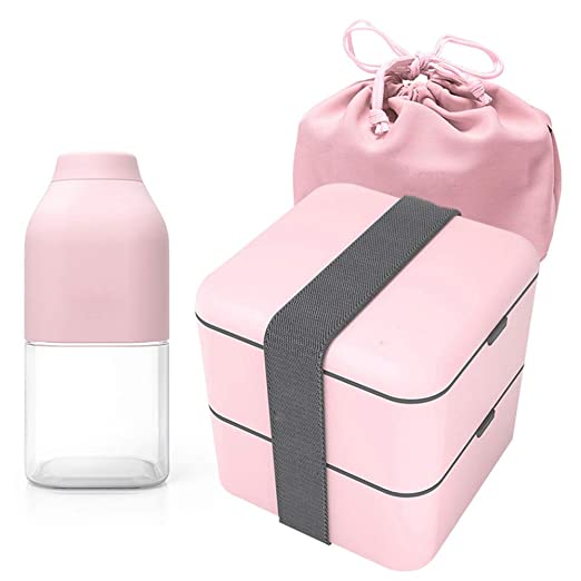 FFyy JBento Box de Dos Capas para Adultos, Lunch Box 2 Niveles ...