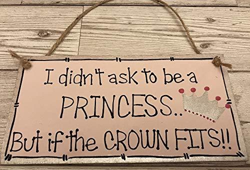 Princess Crown Sign Plaque Girls Pink Bedroom Nursery Door Hanger