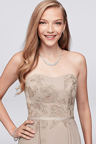 David's Bridal Appliqued Faille High-Low Bridesmaid Dress Style OC290019, Wine, 20 by David's Bridal (Image #2)