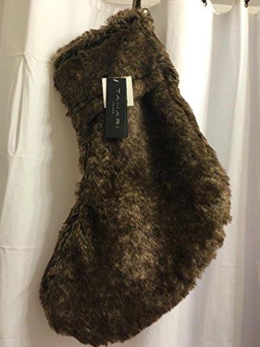 Tahari Brown Mink Faux Fur 22 inch Plush Wide Stocking (Plush Angel Stocking)
