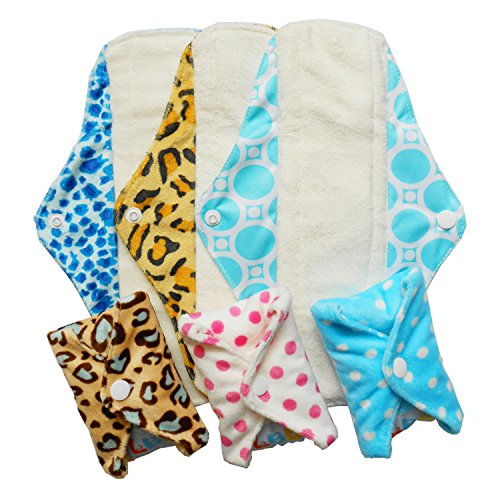 LBB 6 Pack Reusable Sanitary Pads for Women Bamboo Pads Menstrual/Panty Liners 12 inch, Random...