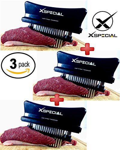 KITCHEN GADGET GIFT > Professional Just-4-Meat Tenderizer By XSpecial - Home Tool for Tenderizing & Flavor maximizer: Steak Beef Poultry (3 Packs,Black 48 Blades Stainless Steel,Individually Boxed) (Steak Piece 48)