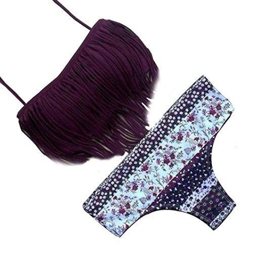Swimsuit, Leoy88 Women Swimwear Tassels Floral Bikini Push-Up Padded Beachwear (L)
