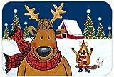 Caroline's Treasures PJC1088CMT The Tree Famers Reindeer Christmas Kitchen or Bath Mat, 20 by 30'', Multicolor