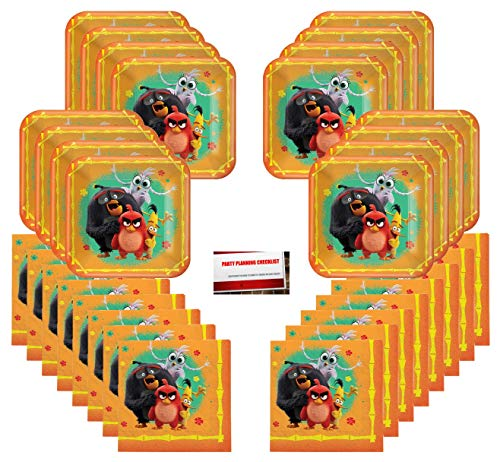 Angry Bird Party Supplies (Angry Birds Birthday Party Supplies Bundle Pack for 16 Guests (Plus Party Planning Checklist by Mikes Super)