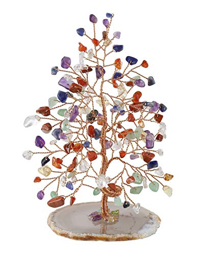 Top Plaza 7 Chakra Healing Crystals Copper Money Tree Wrapped On Natural Agate Slices Geode Base Luck Reiki Feng Shui Figurine Statue ()