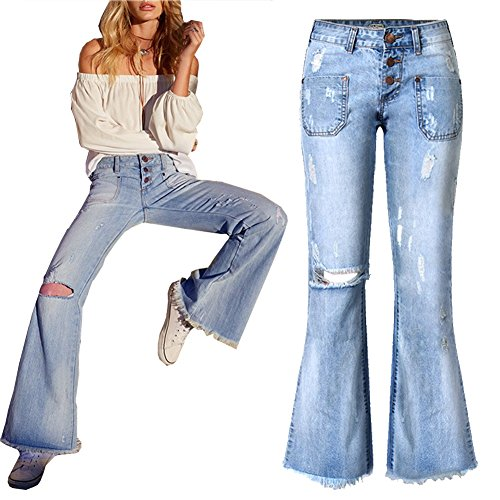 Retro Women's Bell Bottom Stretch Flare Denim Jeans Wide Leg Skinny Female Pants M Blue