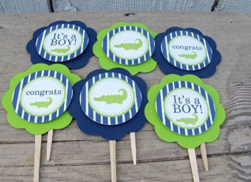 Alligator Baby Shower Cupcake Toppers
